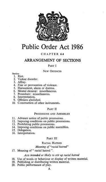 Public order act 1986 legislationgovuk