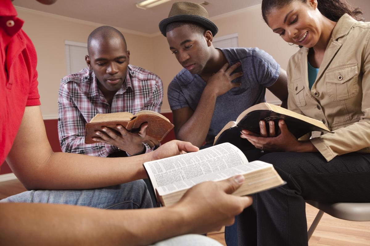 group of young people at bible study