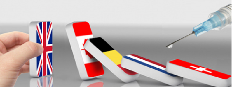 dominoes with national flags falling over, with syringe hovering over them
