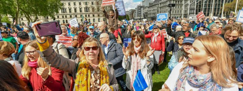 crowd of people at March for Life in Parliament Square