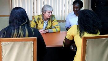 Prime Minister Theresa May meeting victims of trafficking in Nigeria