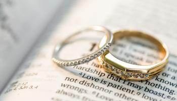 Two wedding rings on a bible
