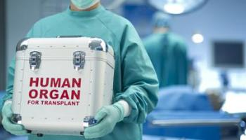 Clinician carrying organ donation box