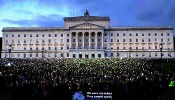 Tens of thousands outside Stormont in Northern Ireland
