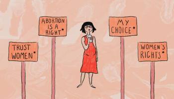 Young pregnant woman looking confused at different signs with pro-abortion slogans