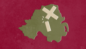 map of Northern Ireland with a broken cross